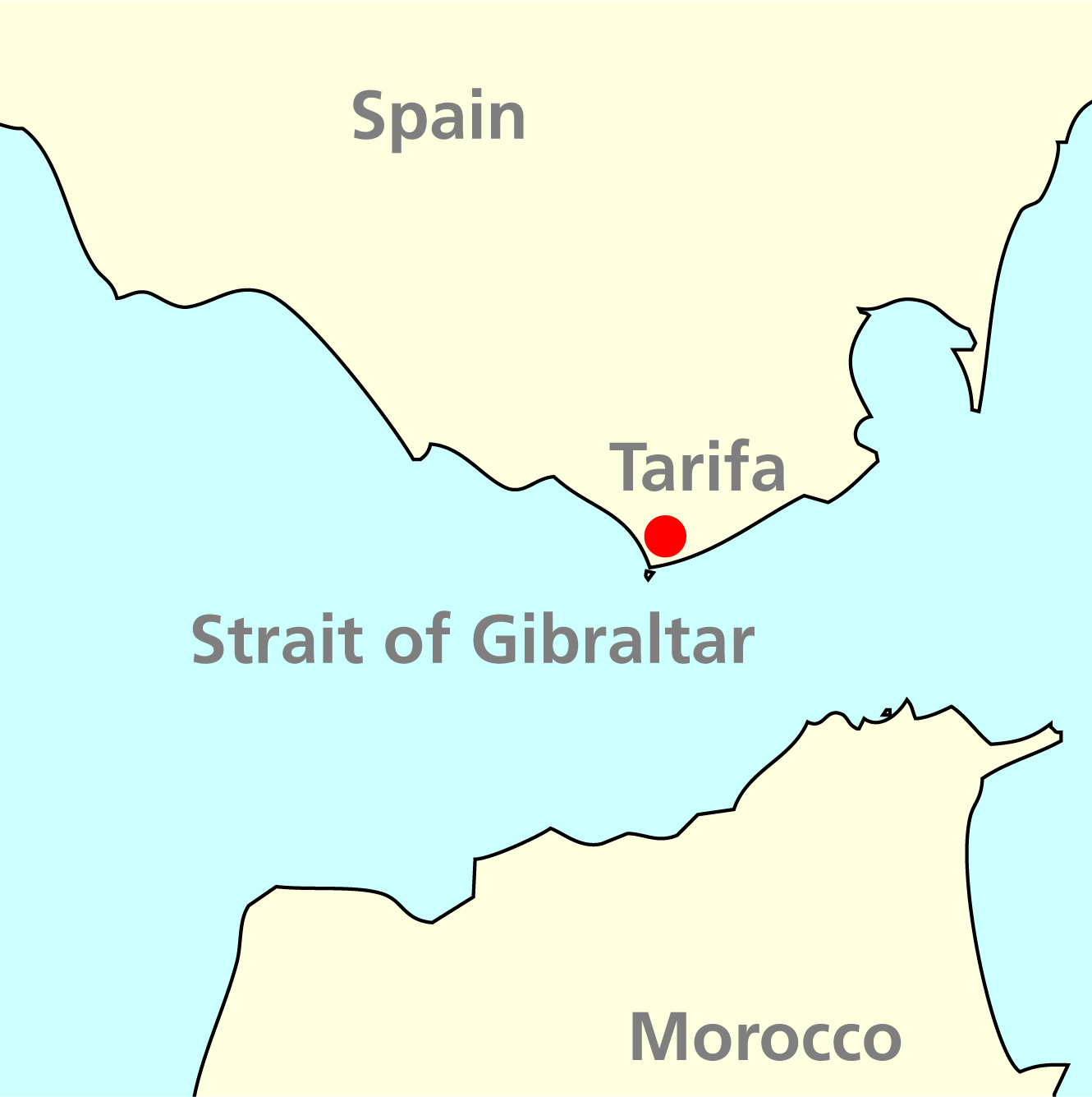 Tarifa and Gibraltar map
